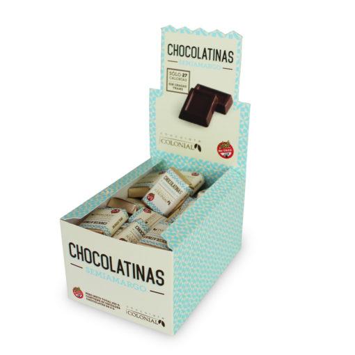 Estuche chocolatinas semiamargas, 50 unidades, Chocolate Colonial.