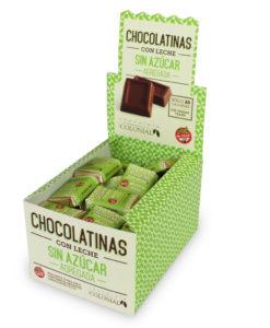 Estuche chocolatinas sin azúcar agregada, 50 unidades, Chocolate Colonial.