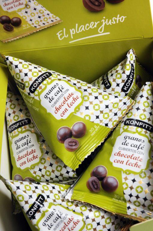 Konfitt granos de café bañados en Chocolate, 15 unidades 30gr.