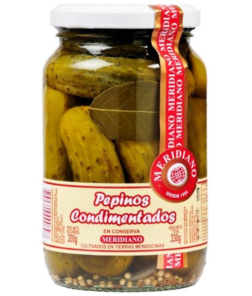 Pepinos Condimentados en Conserva, Meridiano 12 unidades de 330 gr.