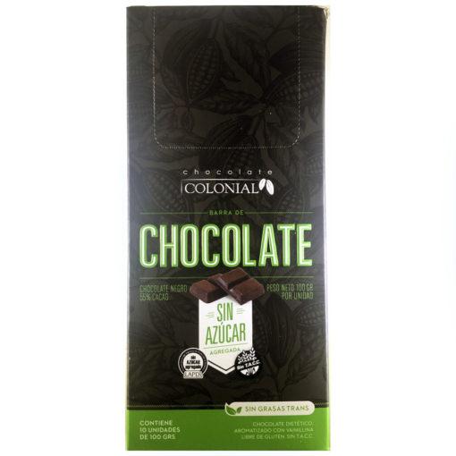 Chocolate sin azúcar negro 55% de cacao-Chocolate dietético semiamargo, modificado en su composición glucídica. Sin azúcar agregada. Libre de gluten. 0% grasas trans.