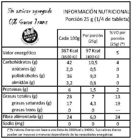 tabla nutricional 55 chocolate colonial sin azucar agregada