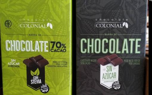 Chocolate 70% cacao con Stevia-Chocolate amargo dietético, libre de gluten. Sin agregado de azúcar. Endulzado con estevia, 70% cacao y Sin Azucar 55%