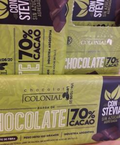 Chocolate 70% cacao con Stevia-Chocolate amargo dietético, libre de gluten. Sin agregado de azúcar. Endulzado con estevia, 70% cacao.