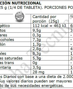 Tabla Nutricional Tableta 100 gr 70% cacao endulzado con Stevia