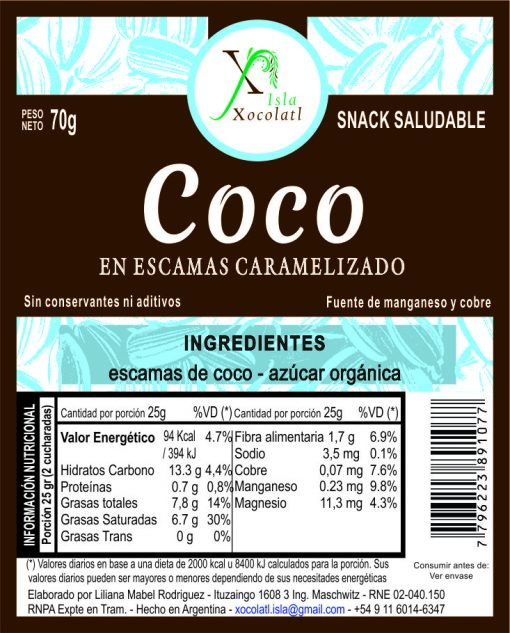Coco en escamas caramelizado x70 gr con azucar organica sin conservantes ni aditivos