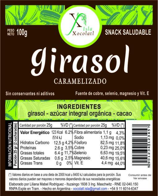 Girasol caramelizado 100 gr RNE