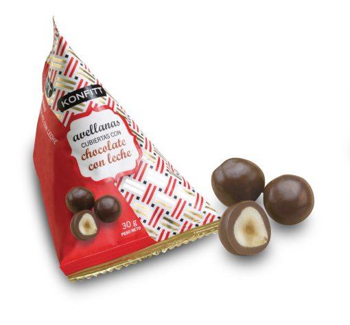 Konffit avellanas bañadas en Chocolate con leche, 15 unidades de30gr c/u