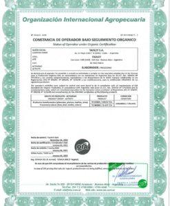 certificado Organico